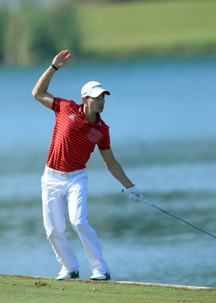 Camilo Villegas nearly fell into the water on 18 after hitting his second shot.