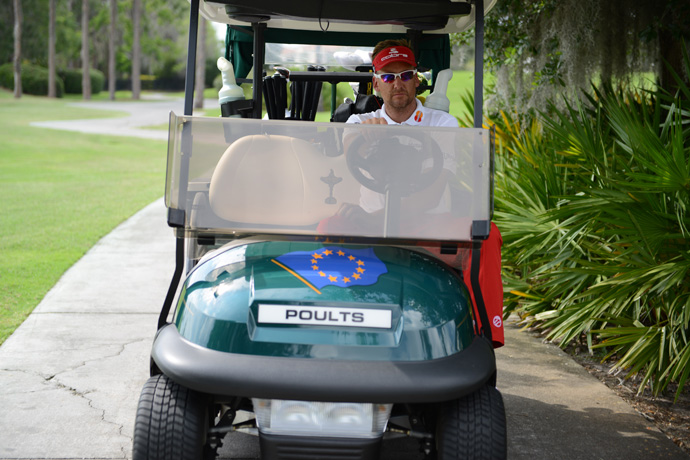Poulter, who collects Ferraris as a hobby and an investment, even owns a golf cart with some extra giddyup.