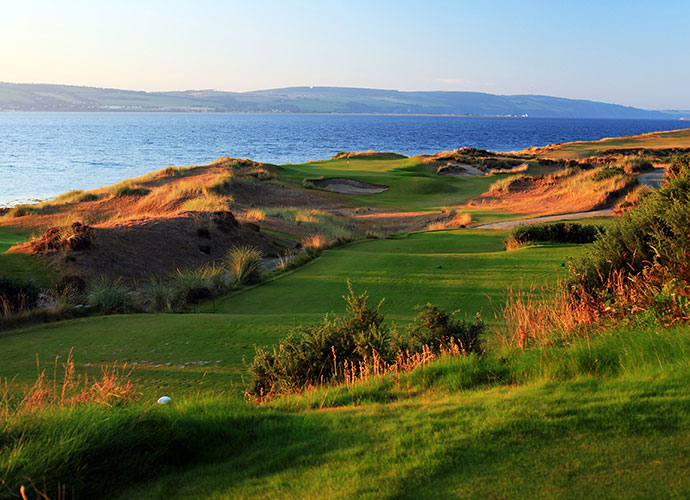7. Castle Stuart                       This brilliant five-year-old Gil Hanse/Mark Parsinen design was effusively praised by Phil Mickelson -- and that was before he won the 2013 Scottish Open here. Wide fairways, wild and woolly bunkers and eye candy panoramas of Moray Firth and the Scottish Highlands are highlights.