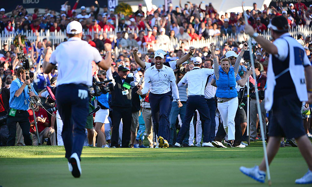 The European players and fans erupted when Kaymer's putt dropped.