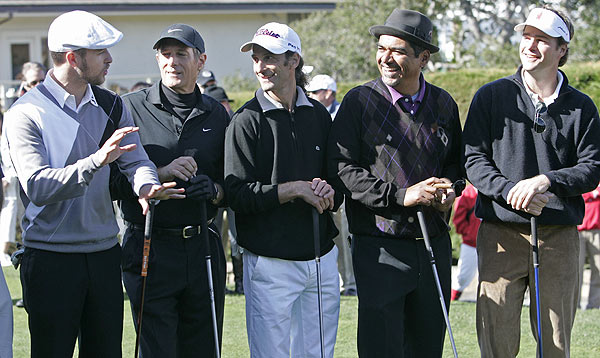First Round of the AT&T Pebble Beach National Pro-am                     Several celebrities joked before the start of the opening round of the AT&T. From left to right: Singer Justin Timberlake, singer Michael Bolton, jazz musician Kenny G, comedian George Lopez and actor Chris O'Donnell.