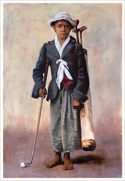 "Caddie in Ceylon (18"" x 12"" print from $150 at linksoul.com)                       Out of ideas? Worried about ordering the wrong size? Here's a stylish gift idea without the uncertainty of fit or taste: signed limited edition prints of vintage golf scenes and characters. This one, Caddie in Ceylon, painted by artist Geoff Cunningham from a 1906 postcard found in Scotland, evokes a whole other world and time in golf."