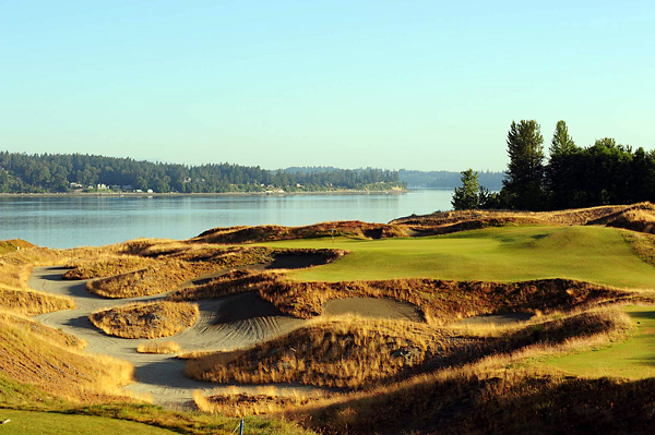 "Chambers Bay Golf Course, University Place, Washington                        Giant sand dunes, rumpled fairways, coastal breezes, stunning sea views. Where are we? The surprise answer is Washington State, specifically, Chambers Bay, 45 minutes south of Seattle. Planted atop an old gravel mine, this walking-only municipal layout slotted to host the 2015 U.S. Open boasts many distinctive features. Among them are the shared fairway between 1 and 18, the par-4 5th called ""Free Fall,"" that plummets 80 feet and offers two possible greens 150 yards apart and the par-5 18th that plays alongside 40-foot-tall concrete structures that in a former life were sorting bins for the gravel operation."