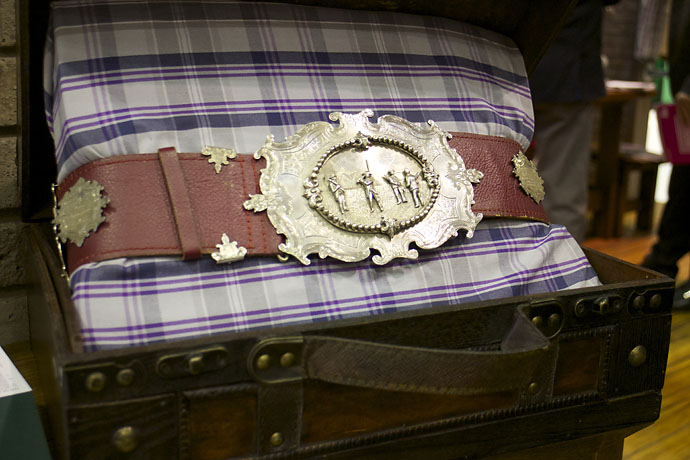 A replica of the original Open Championship belt -- that predates the Claret Jug -- is displayed at the Tom Morris booth at the PGA Merchandise Show. Old Tom Morris built Prestwick Golf Club, site of the first Open Championship in 1861, and was a four-time Open winner.