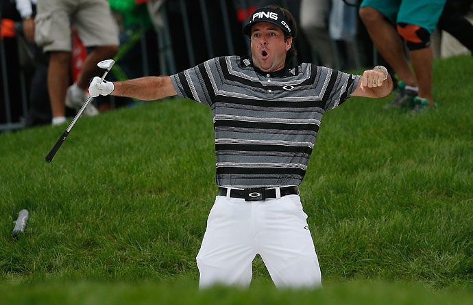 Bubba Watson celebrates after holing a bunker shot on the 18th hole to make an eagle and reach a playoff during the final round of the WGC-HSBC Champions in Shanghai on Sunday.
