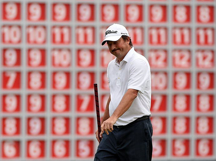Tim Clark reacts to missing his birdie putt in the playoff during the final round of the WGC-HSBC Champions at the Sheshan International Golf Club on Sunday.