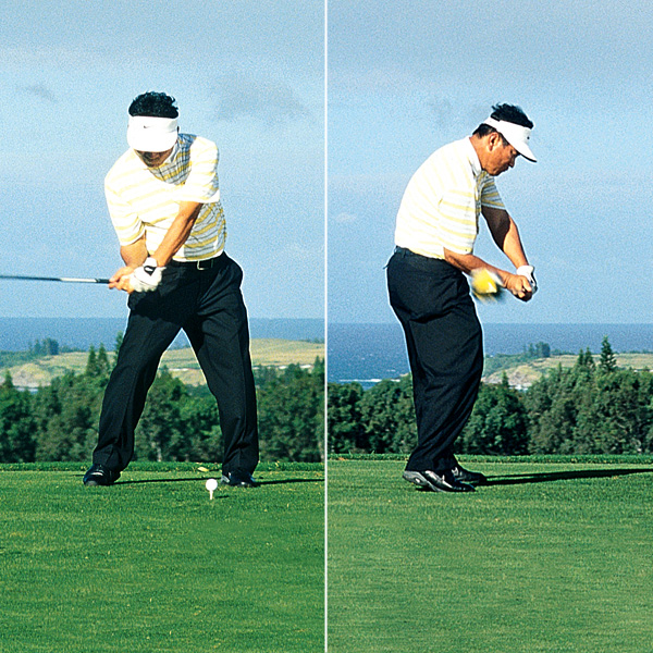 4. What a great change of direction! His lower body leads the club into a position where it can be lowered onto a perfect plane.