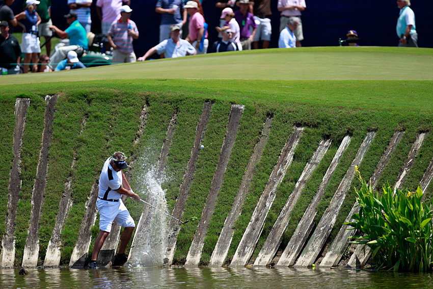 Daniel Chopra was unable to get up-and-down from a water hazard by the ninth green. He shot even par.