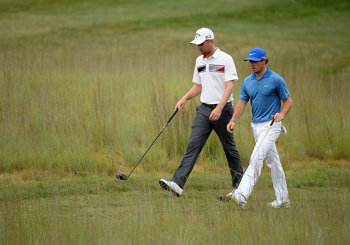 """""""For someone like me, I have to definitely make sure I don't get caught up in watching him. He'll out-drive me by 30, 40 yards sometimes and hit these ridiculously high iron shots.""""                     --Chris Kirk on playing with Rory McIlroy."""