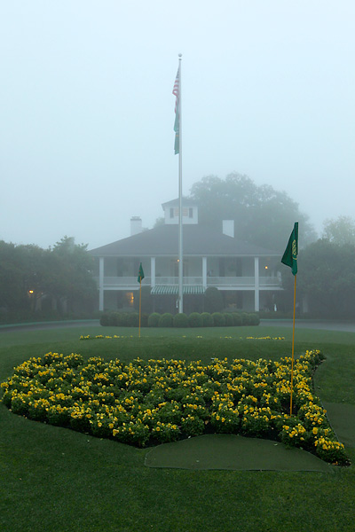 A thick shroud of fog covered the course Wednesday morning.