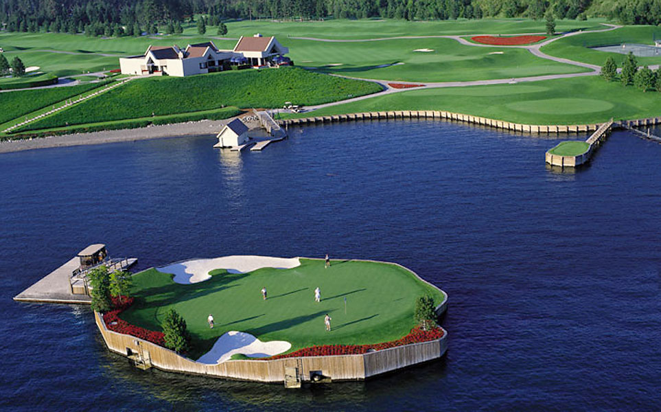 10. Coeur d'Alene Resort, Coeur d'Alene, ID; 208-667-4653, cdaresort.com                     Hard to believe, but it's been more than 20 years since golf's first floating island green rose to the surface, but as gimmicks go, it's one of the best ever. The green at the Coeur d'Alene Resort's par-3 14th hole has been one of the most popular (and never duplicated) attractions in the history of golf course design. Players are escorted to and from the 15,000-square-foot, red geranium-ringed putting surface via the Putter Boat shuttle -- and a certificate awaits those who score par or better. Nonetheless, Coeur d'Alene is more than a one-hole wonder. Magnificent conditioning, some stout par 4s and the acclaimed resort that overlooks Lake Coeur d'Alene make Coeur d'Alene a bucket list summer resort destination.