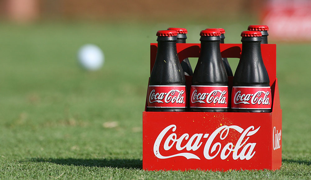 Coca-Cola bottles are common tee markers at the Tour Championship in Atlanta.