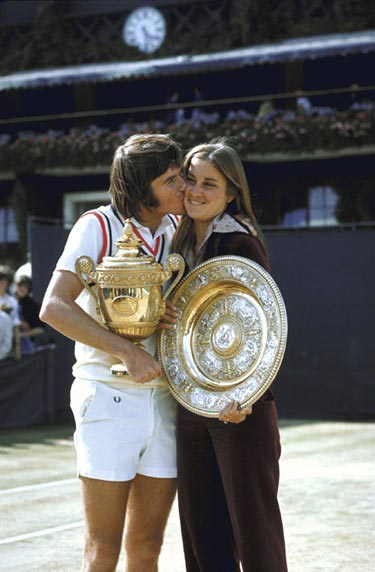 Jimmy Connors. The temperamental lefty got  engaged to Evert in late 1973, then proceeded to  win three Grand Slam events — the first of his  career — in '74. They broke up not long after  he won the third, the U.S. Open, and he went  winless in the slams for two years.