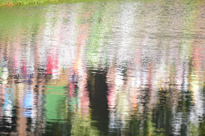 The reflections off the ponds at Augusta National's Par 3 Course were striking on Wednesday,
