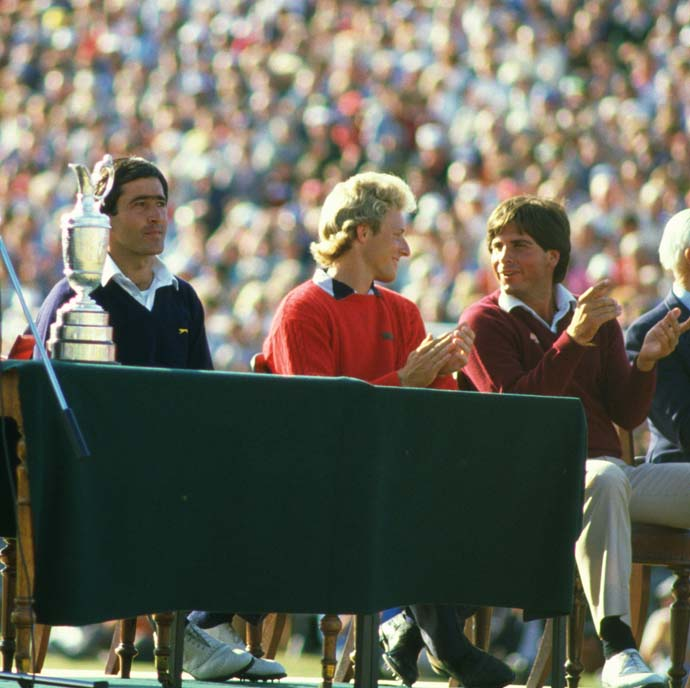 Fred Couples finished T4 at his Open Championship debut at St. Andrews in 1984. In this photo, Couples is seated next to Bernhard Langer (T2 with Tom Watson) and champion Seve Ballesteros.