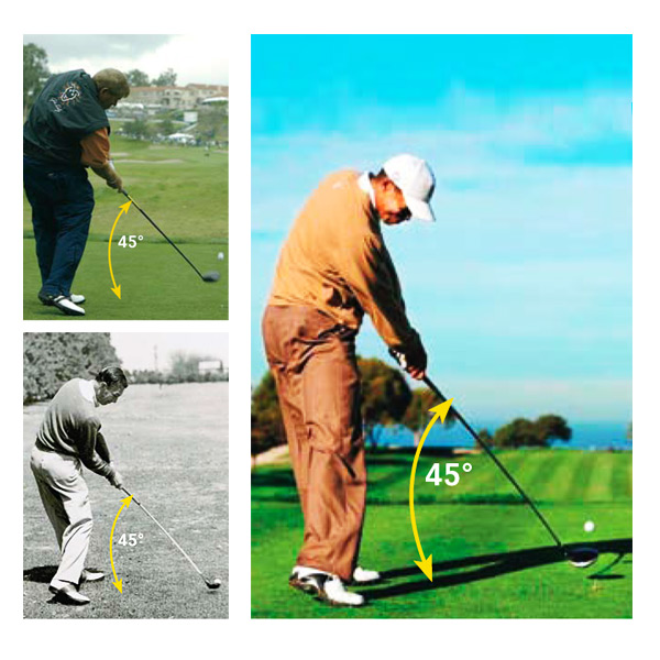 The 45-Degree Shaft Angle Never Goes Out of Style                       Most Tour players have a shaft angle of 45-47 degrees* with their driver at impact, while most amateurs are above 50 degrees. A shaft angle this high will increase your spin and launch angle: High spin + High launch angle = Short drives.                                              *Fred Funk and Corey Pavin are both close to 40 degrees at impact. They're both straight hitters, but they're also short hitters by Tour standards.