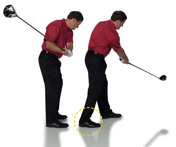 STEP 3: Changing Plane                       If you have an out-to-in swing like most amateurs, your upper body is unwinding too fast and your club is approaching the ball too steeply. To change to a positive attack angle, you need to groove a more in-to-out swing. Try this baseball-swing drill to engrain the feeling of your new attack angle.                                              STEP 1 Swing the club in a baseball-like plane, above the ground, and drop your back foot back.                       STEP 2 Make your regular golf swing. You will feel like you're making a more in-to-out swing.