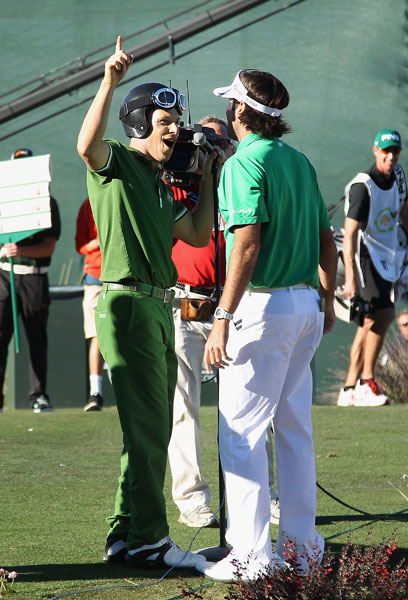 "Ben Crane, left, and Watson did a mini-rendition of their ""Golf Boys"" song for the fans at the par-3 16th."