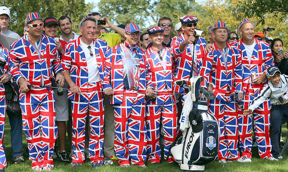 Fans even flashed their team colors during the practice rounds, like these Team Europe supporters in union jack suits.