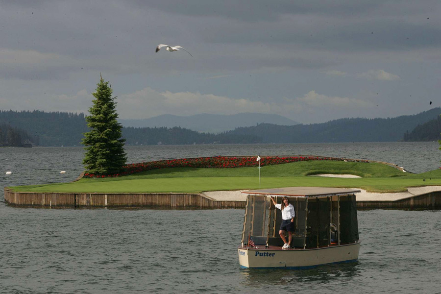 Coeur D'Alene Resort Golf Course -- No. 14, 218 yards -- Coeur D'Alene, Idaho                       You know you're playing golf in a scenic spot when you have to take a boat to retrieve your ball. That is if it's dry, and sitting 150 yards from the tee box on the verdant surface of the world's first floating island green.