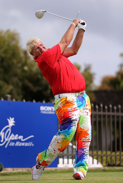 John Daly accidentally struck a rock on No. 6 and injured his shoulder. He finished with a 79.