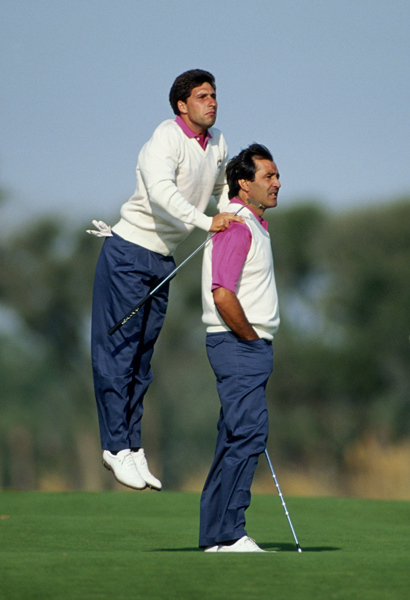 The Spaniards Seve Ballesteros and Jose Maria Olazabal won 3 1/2 points in four team matches. Ballesteros led Europe with a 4-0-1 record.