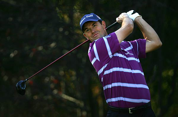 Padraig Harrington, who won the British Open earlier in the year, is three strokes off the lead at one under par.