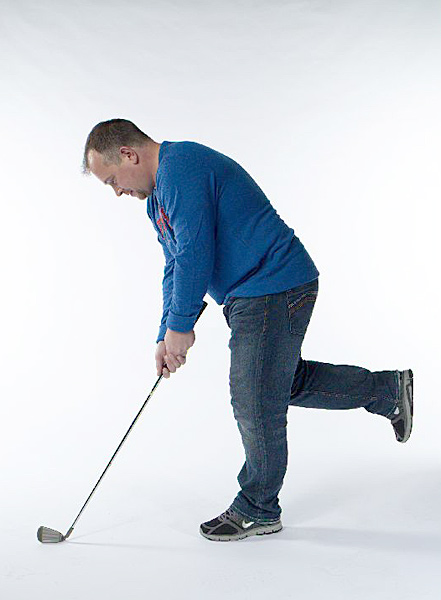Grip a club down at the steel — so you don't take out any low-hanging chandeliers —                        and assume your setup position. Put one foot behind you, using your rear foot's toe                       for balance, and stand on the other. Make slow swings back and through on one leg. Do it                       for 10 seconds, then switch legs, three times each daily. After a few days, lift your rear                       foot off the floor entirely.                       Benefit: Improves swing balance