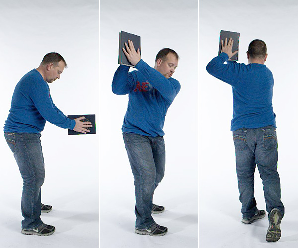 Assume your address position while holding something heavy, like                       a large dictionary. Keep your head down as though you're looking                       at the ball and make a slow-motion swing. Maintain your golf                       posture throughout and do 10 seconds of super-slow swings, then                       10 seconds of medium swings, and 10 seconds of fast swings. One set daily.                       Benefit: Develops on-course stamina