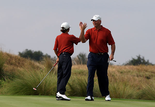 Tom Lehman and his son Thomas were paired with Bernhard and Stefan Langer, the two-time defending champions.