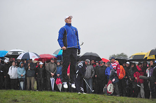 Martin Kaymer during the rain-drenched opening day of play.
