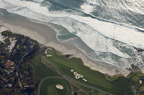Aerial shot of the ninth hole at Pebble Beach.