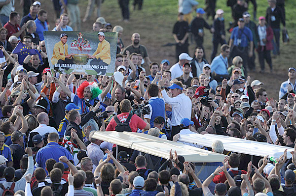 McDowell and teammate Ian Poulter celebrated their victory with the European fans.