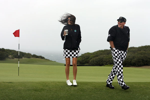 John Daly and his girlfriend made a matching statement this season, often appearing at tournaments in coordinated outfits.