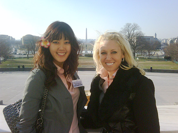"Maybe she meant the way-background                       Natalie Gulbis had a blonde moment when posting a photo of her and Michelle Wie on the Capitol steps on Twitter. ""Michelle and I with Lincoln Memorial in background."" The typo was picked up by her Twitter followers and sports blogs. Gulbis had a sense of humor about it, though. She later tweeted, ""Oops! Washington Memorial! typed before mind caught up. Sorry!"" and ""Yes I am blonde."""