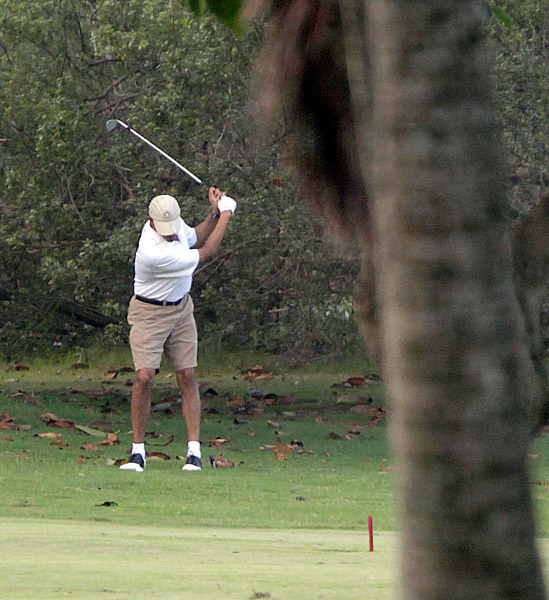 Obama also played the Klipper Golf Course on the Marine Corps Base in Kaneohe, Hawaii.