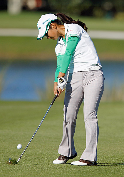 could not recover from an opening-round 80. Miyazato missed the 54-hole cut by one shot.