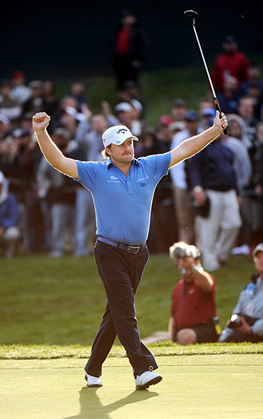 Northern Ireland's Graeme McDowell became a national hero after winning a tough U.S. Open at Pebble Beach and clinching the Ryder Cup in the final singles match. He capped his season by stunning Tiger Woods in a playoff at Tiger's own Chevron World Challenge event (left) after coming back from four strokes behind.