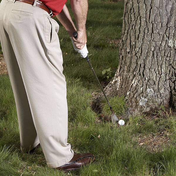 STEP 2                     Since bad things happen when you try to hit this shot too hard, swing the club like it's your putter. Before you hit this shot, make a few practice swings from a similar lie nearby. Find a leaf and try to catch it on the fat part of the toe section.