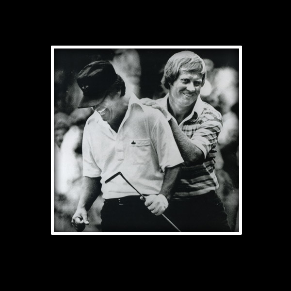 "PGA again, '74. I had a two-shot lead but I bogeyed the 17th hole. On 18, Nicklaus teed off with a 3-wood, I hit driver and out-drove him. He hit 5-iron to 18 feet left of the hole, I hit 6-iron to about 20 feet behind the hole. I putted the ball down to about a foot and a half short. I was choking so bad that I couldn't swallow. It's customary if you're leading to mark, so you're the last one to putt. But I said, ""Jack, do you mind if I putt?"" He said, ""Not at all."" He knew I was nervous. So I made the putt. There was no hoopla. Jack and Hubert Green still had to putt. As we were walking off I said to Jack,                       ""Thank you for letting me putt out, because if you wouldn't have, I'd have passed out."" That's why he's laughing."