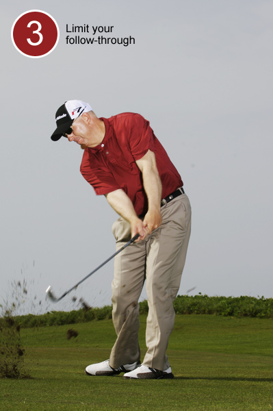 3. On your downswing, resist the urge to unhinge your wrists and throw the clubhead at the ball. Instead, pull your arms down and let the clubhead lag behind your hands. Your goal is to collide with the ball rather than pick it clean. Your follow-through is fairly insignificant. Focus on ball-first contact. Once you've made contact, forget about your arms and just turn your hips toward the target.                                              Notice in the photos that the hands are always ahead of the clubhead!