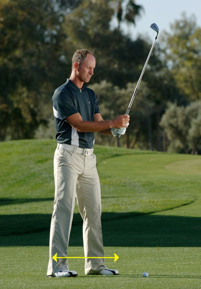 2. Open your feet to shoulder width, making sure that the ball is in the proper position in your stance.