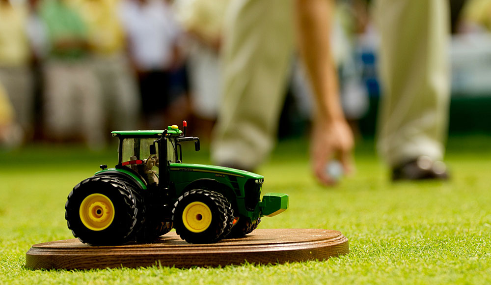 A miniature tractor from the John Deere Classic.