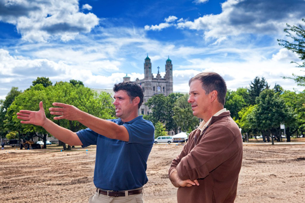 Architect Tom Doak, right, with senior associate Brian Slawnik, is designing a practice facility at Detroit's Marygrove College.