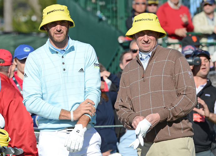 Dustin Johnson, left, and Wayne Gretzky missed the pro-am cut by one stroke.