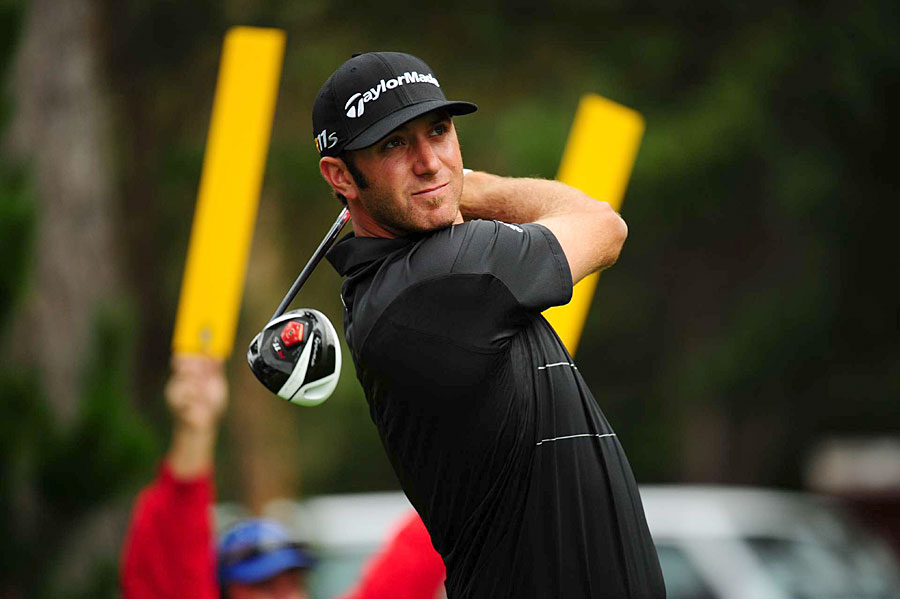 Dustin Johnson is in second place as he seeks his third Pebble Beach title.