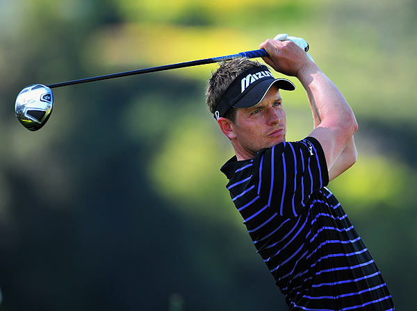 Luke Donald is three strokes off the lead at five under par.