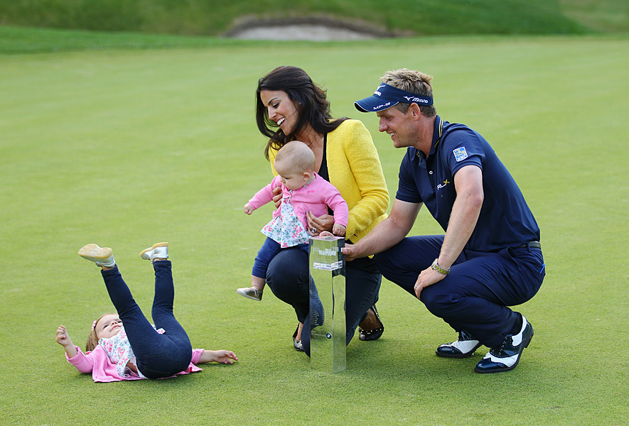 Luke and Diane Donald with their daughters, Sophia Ann, right, and Elle after Luke won the BMW PGA Championship.