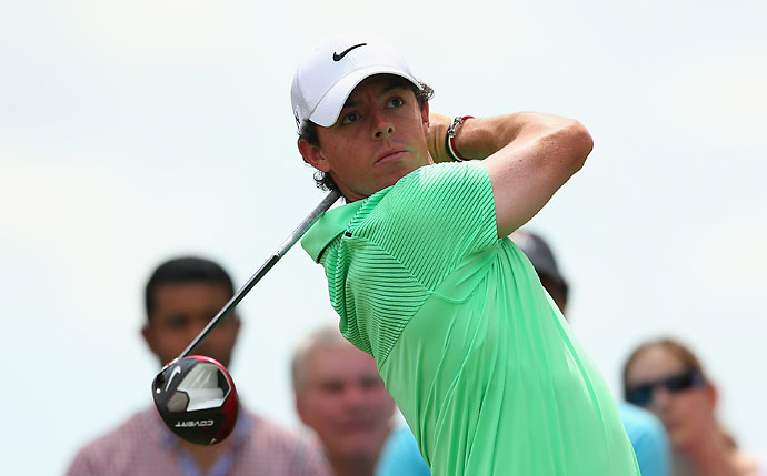 Rory McIlroy hits his tee shot on the second hole during the final round of the World Golf Championships-Cadillac Championship. McIlroy finished T25.