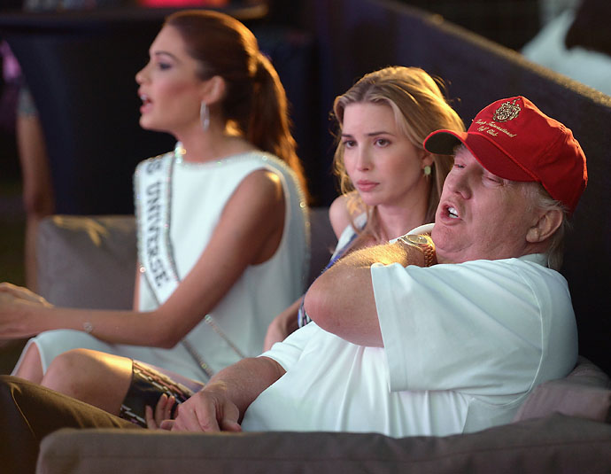 Gabriela Isler, Ivanka Trump and Donald Trump attend GREY GOOSE Vodka and the Cadillac Championship Toast Travie McCoy at the Trump National Doral on Saturday.